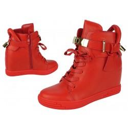 Botki sneakersy z kłódką skóra koturn 362 red