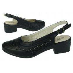 Botki półbuty buty damskie ażur nh04 black