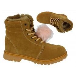 Buty dziewczęce ciepłe zimowe 7446 khaki