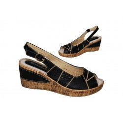 Sandały paski damskie letnie koturn 7125 blck